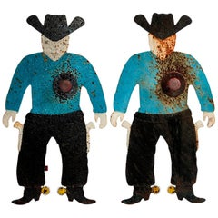 Pair of Cast-Iron Cowboy Shooting Gallery Targets