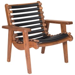 Michael Van Bueren Bauhaus Armchair with Walnut and Leather Ribs