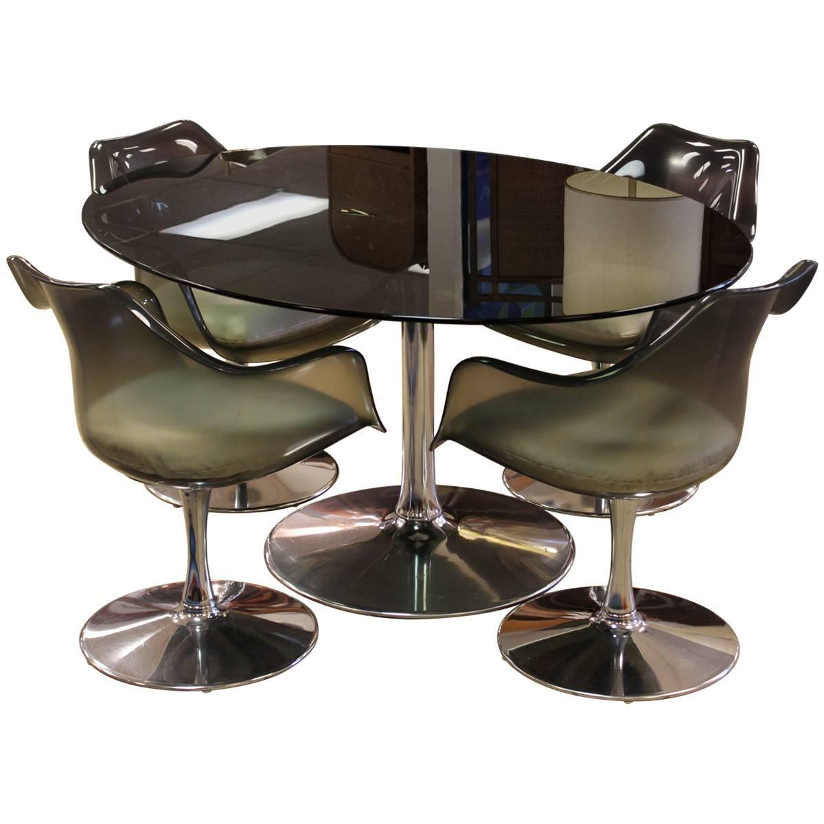 Captivating Mid Century Modern Chromcraft Dining Set Table Four Chairs Smoked Glass  Lucite For Sale