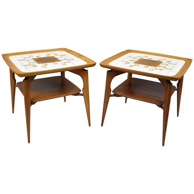 Vladimir Kagan Style Danish Modern Walnut & Tile Top Sculptural End Tables, Pair