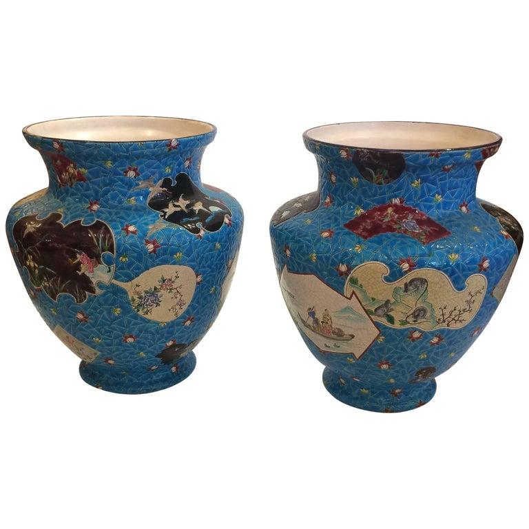 Pair of Spectacular Gigantic Longwy Vases