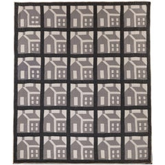 Grey and White Schoolhouse Quilt