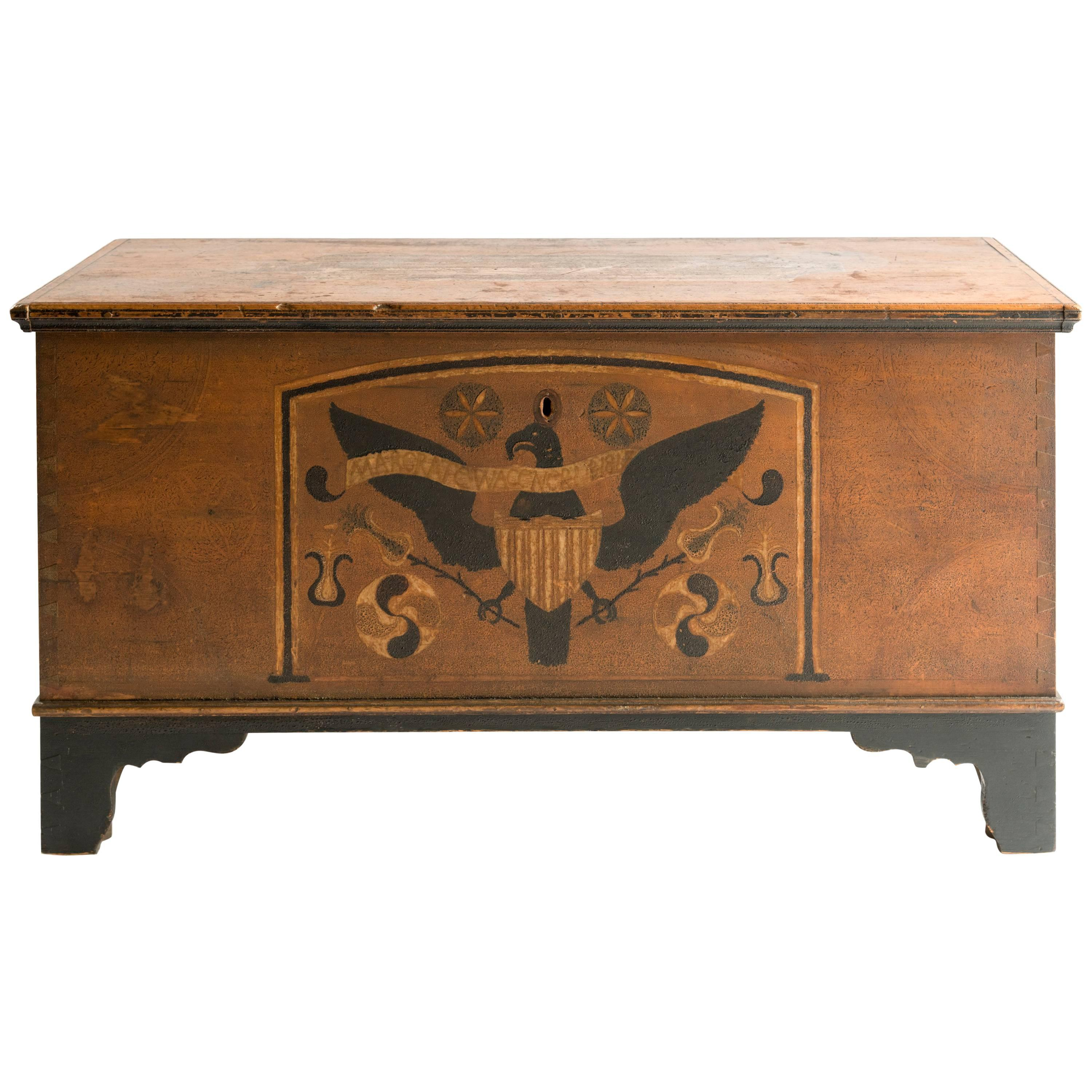 Pennsylvania Polychrome And Eagle Decorated Pine Blanket Chest