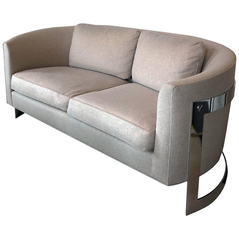 Curved Milo Baughman Style Sofa