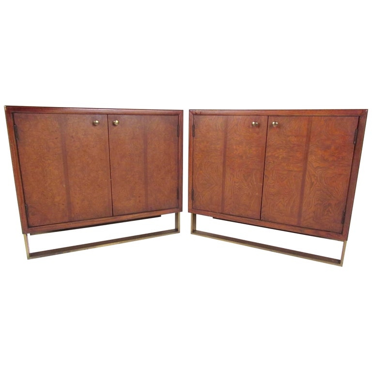 Pair of Elegant Sled Leg Cabinets by Thomasville