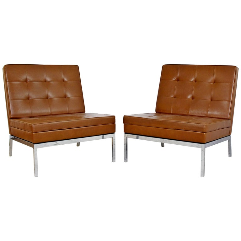Mid-Century Modern Pair of Vintage Knoll Chrome Leather Slipper Chairs Model #65