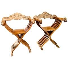 19th Century Renaissance Savonarola Folder Chairs in Carved Walnut