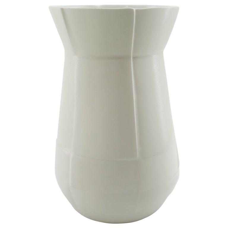 Seam Drop Large Vase White Flower Vase Modern Contemporary Glazed Porcelain For Sale