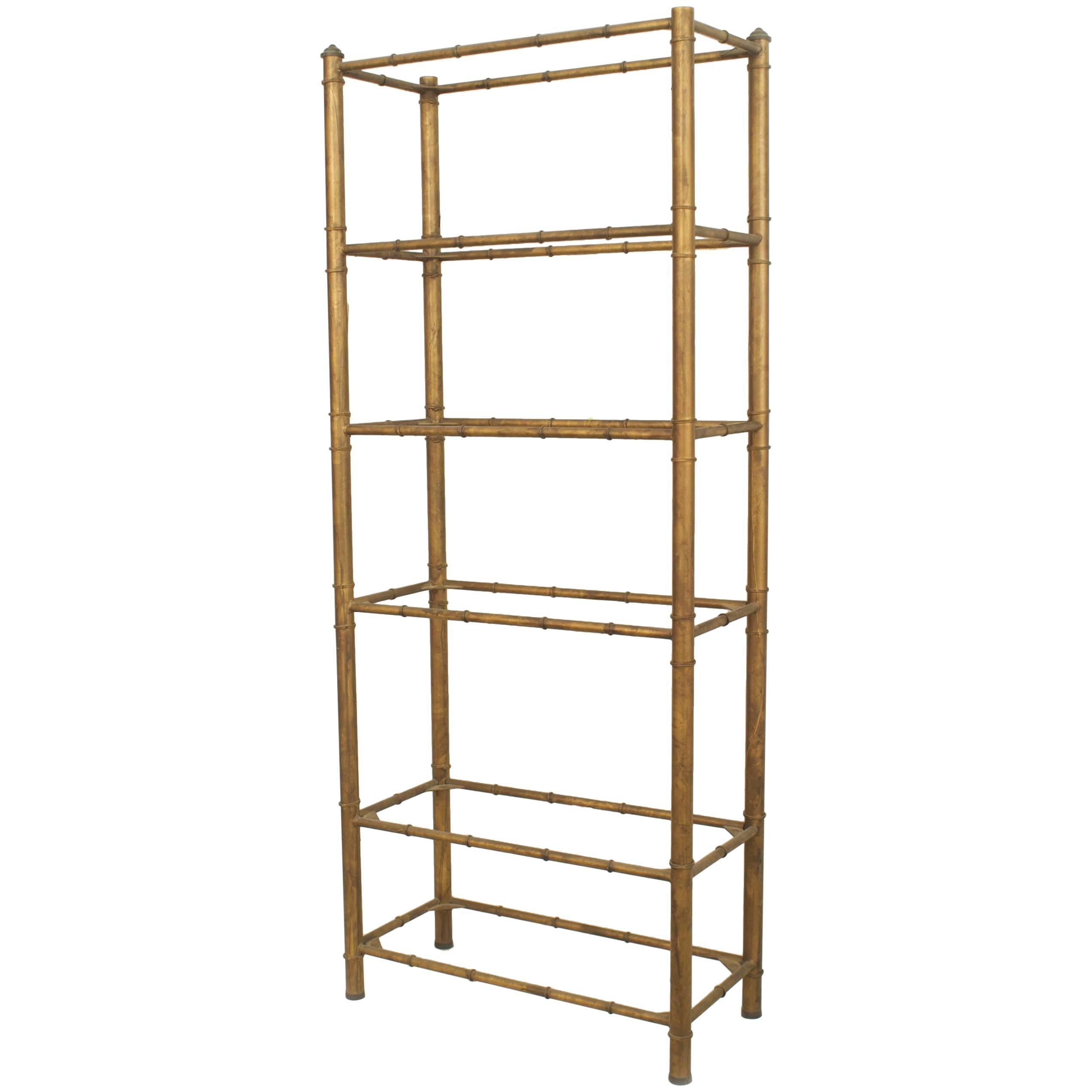 American Midcentury Dark Gold-Painted Faux Bamboo Design Etagere