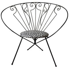 Mid-Century Modern Riley Wolf Iron Hoop Chair with Grey and White Dots