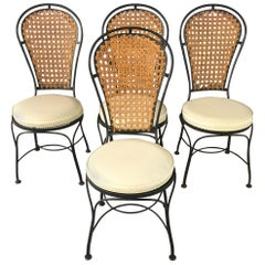 Thonet Style Caned Black Iron Bistro Dining Chairs