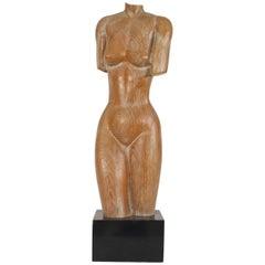 American Mid-Century Modern '1950s' Limed Oak Stylized Carved Nude