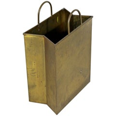 Mid-Century Modern Italian Brass Planter Trash Bin Magazine Holder Stamped