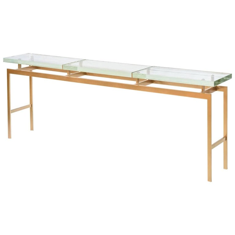 Duran Console, Long or Sofa Table with Thick Pyrex Glass Top and Bronze Base