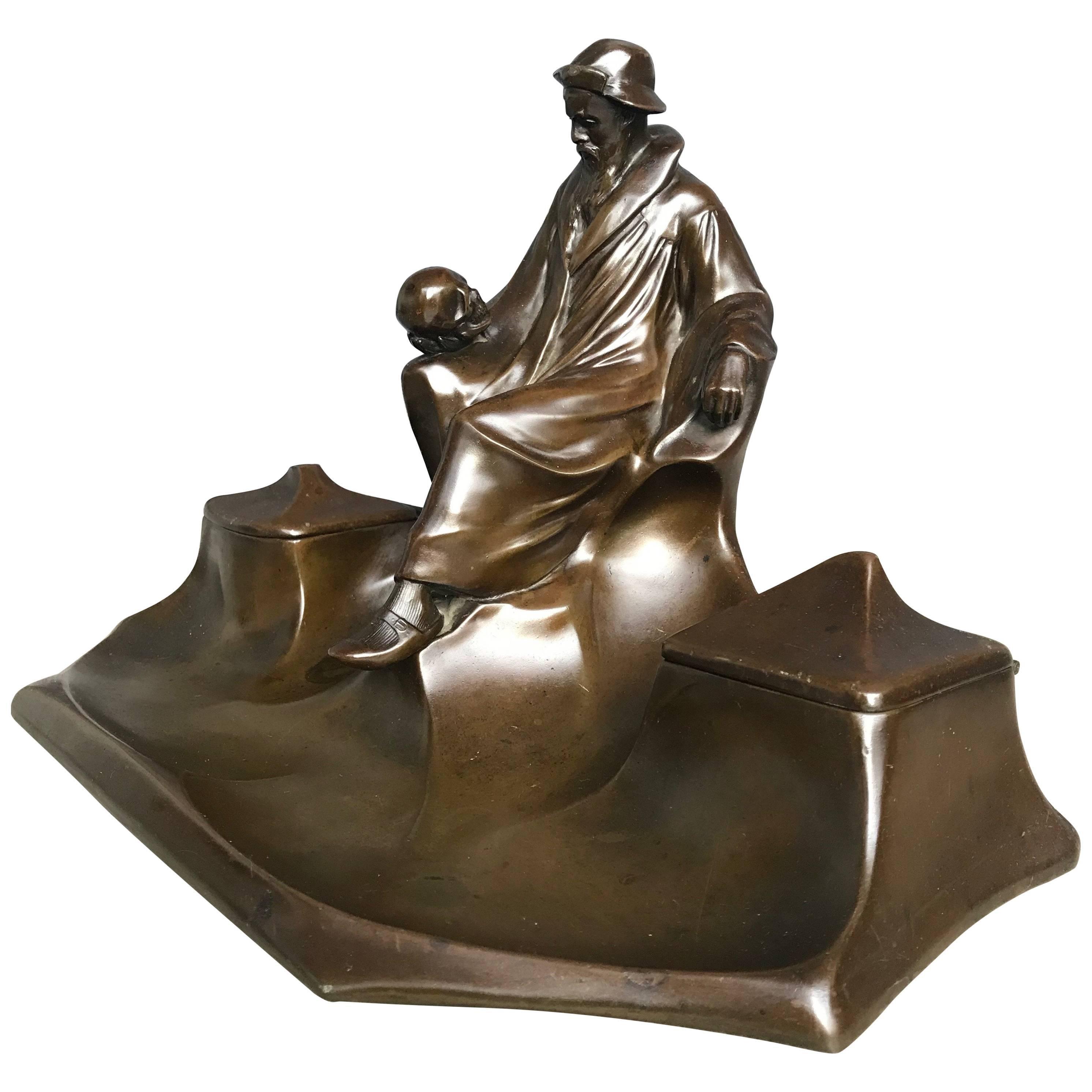 Jugendstil J.P. Kayser Inkstand / Inkwell with Great Hamlet & Skull Sculpture