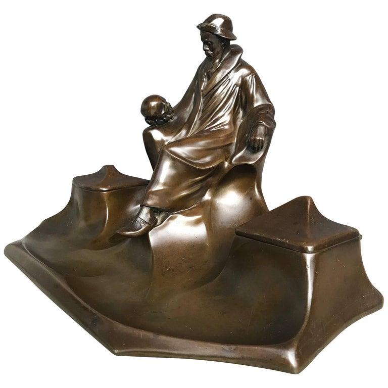Antique Jugendstil J.P. Kayser Inkstand W Hamlet & Skull Sculpture by Hugo Leven