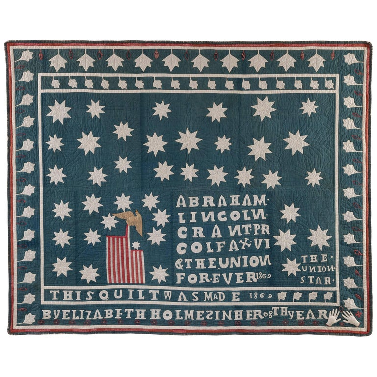 Red White and Blue Patriotic Pieced Appliqued and Stuffed Cotton Quilt