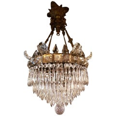 Antique Waterfall Chandelier with Crystal Pinnacles and Glass Ornaments