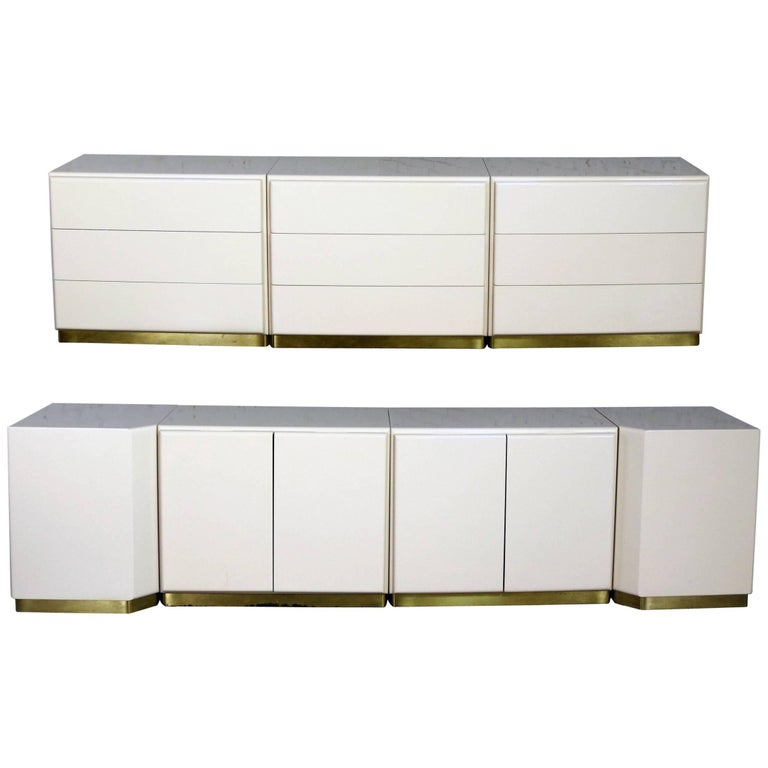 Five Milo Baughman Thayer Coggin Lacquered Cabinets Two Corner Units Brass Trim