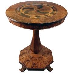 Biedermeier Burl Walnut Specimen Occasional Table