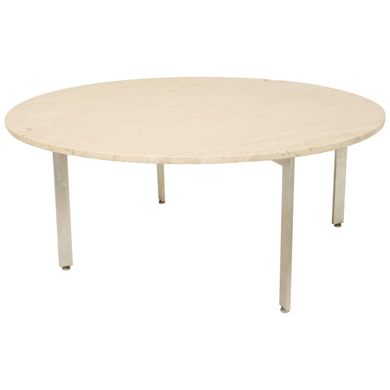 American Midcentury Round Coffee Table with Travertine Top