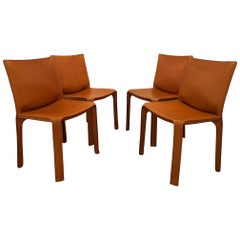 Set of Four Cab 412 Chairs by Cassina