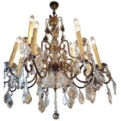 Brass Twelve-Light Chandelier with Glass Pendeloques, Belgium