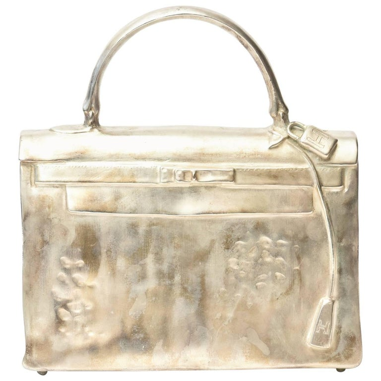 Silvered Bronze Limited Edition French Christian Maas Sculpture Birkin Bag