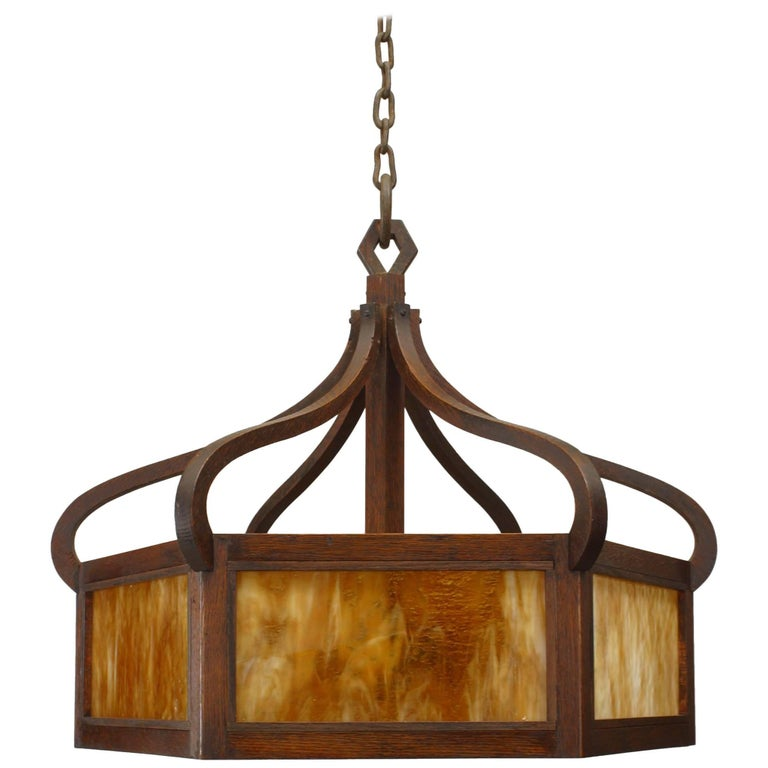 American Mission Six-Sided Chandelier For Sale