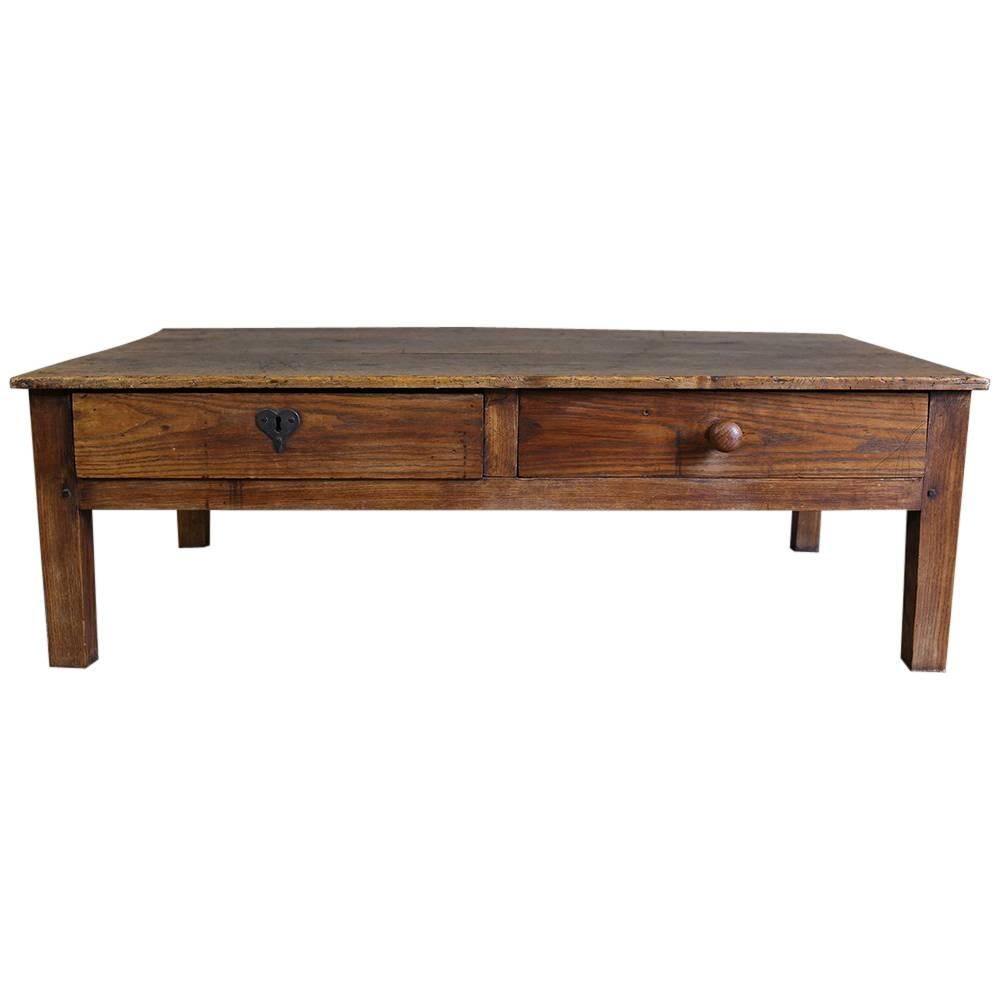 19th Century Antique Country French Ash Coffee Table With Drawers For Sale