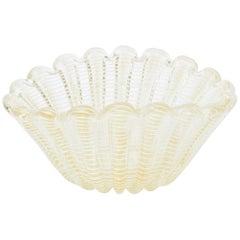 Italian Murano Barovier e Toso Glass Gold Aventurine Spider Web Scalloped Bowl