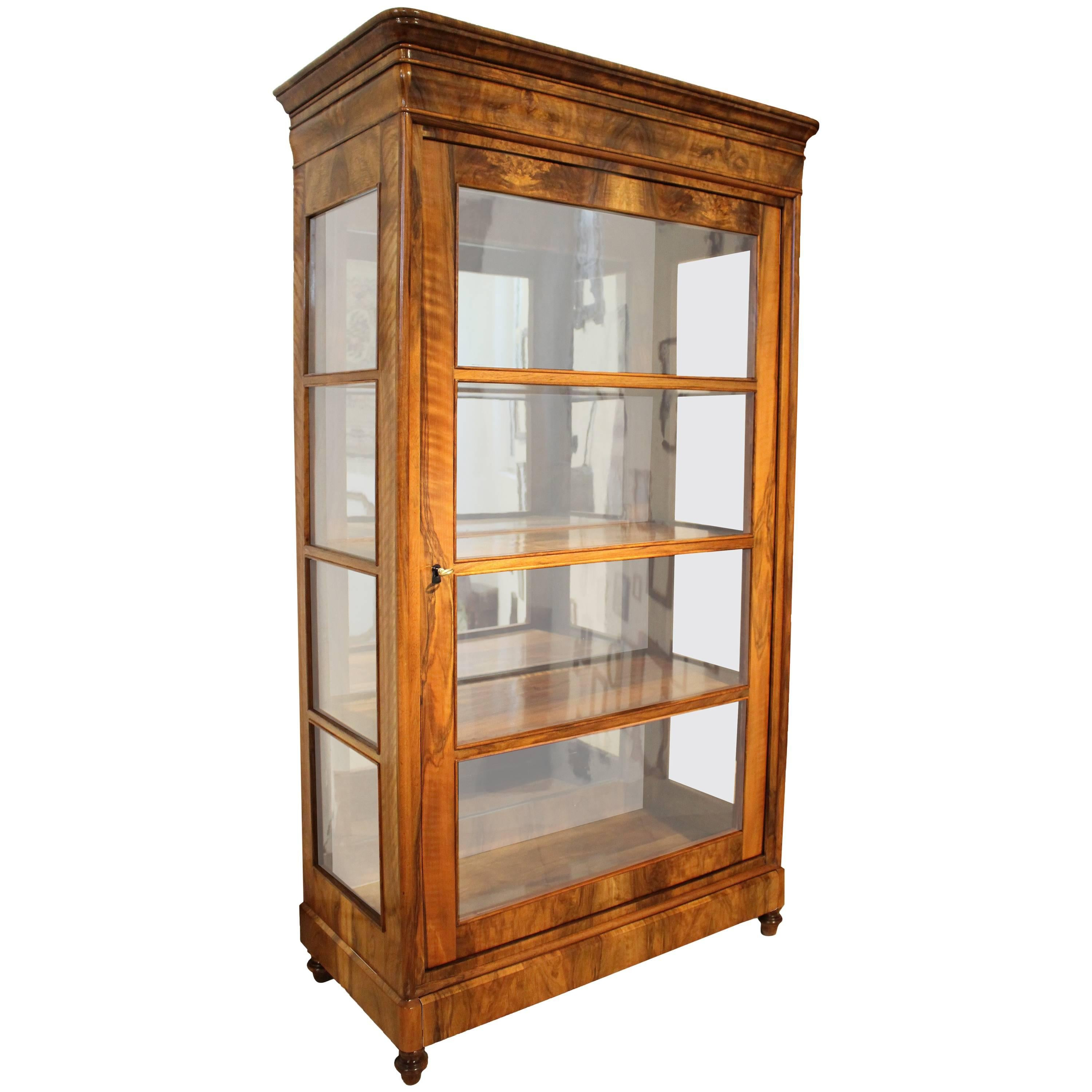 19th Century Biedermeier Walnut Display Cabinet / Showcase / Vitrine For  Sale