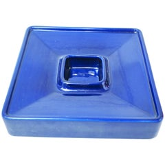 Angelo Mangiarotti Large Blue Ceramic Ashtray by Fratelli Brambilla