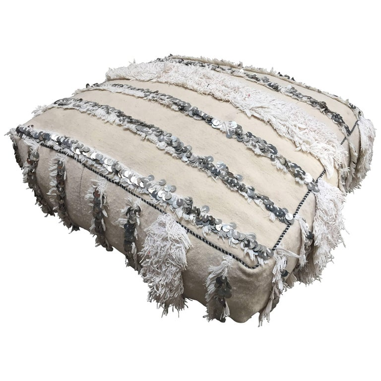 Moroccan Wedding Floor Pillow Pouf with Silver Sequins and Long ...