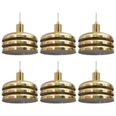 Set of 6 Hans-Agne Jakobsson Brass Pendants, 1960s