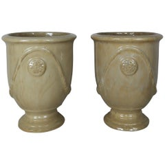 Pair of French Terra Cotta Glazed Pots