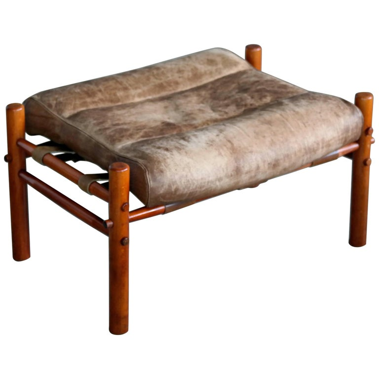 Arne Norell Ottoman in Brown Leather Model Inca and Ilona for Norell Mobler