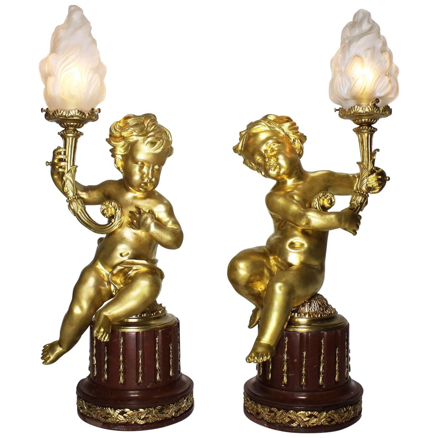 Pair of French 19th-20th Century Louis XV Style Gilt-Bronze Putti Table Lamps