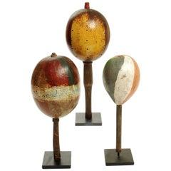 Three Vintage Folk Art Guatemalan Gourd Rattles