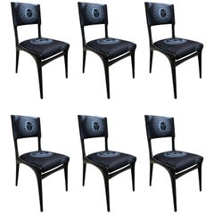 Carlo de Carli Chairs Set of Six Reupholstered with Fabric by Fornasetti