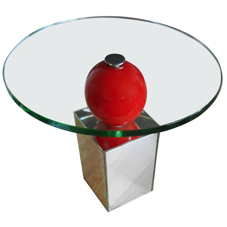 Post- Modern Side Table with a Red Lacquer Bowl