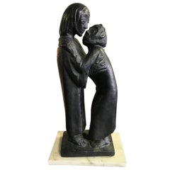 "Ernst Barlach Bronze Sculpture ""The Reunion"" on Marble Base"