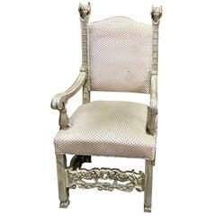 Italian Renaissance Style Motif Whitewashed Armchair