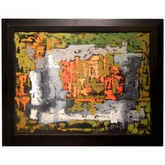 Endings, Expressionist Oil Paint on Found Frame and Burlap Mat by Godoy, 2012