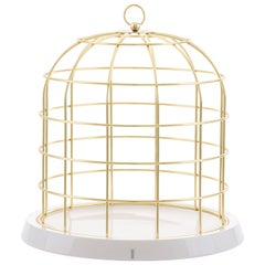 "Seletti ""Twitable"" Gold Metal Birdcage with Porcelain Base"