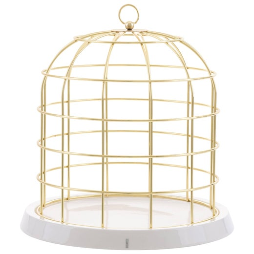 "Seletti ""Twitable"" Gold Metal Birdcage"