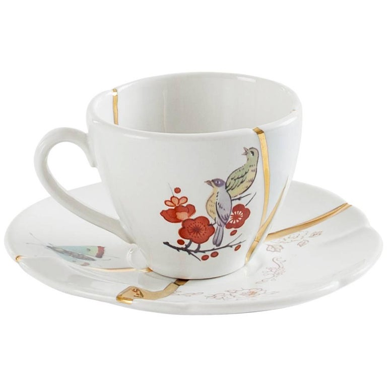 "Seletti ""Kintsugi-N'2"" Coffee Cup with Saucer in Porcelain For Sale"