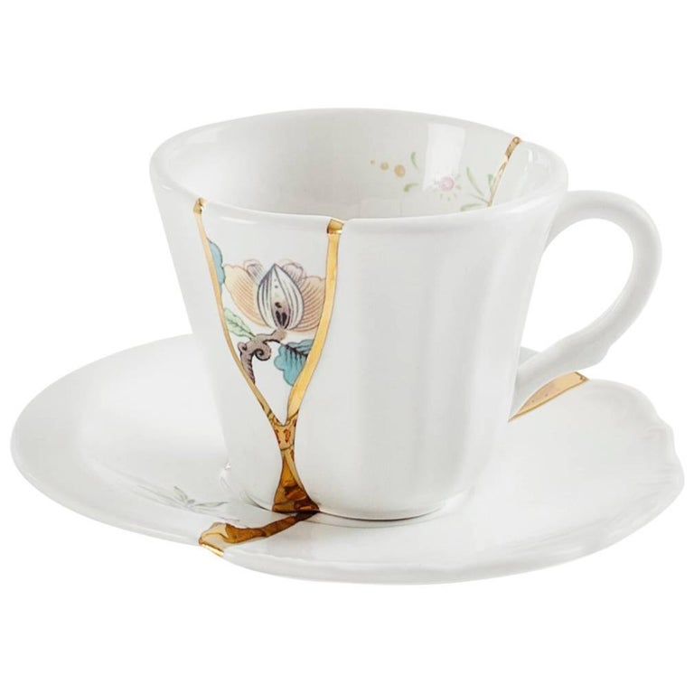 """Seletti Seletti """"Kintsugi-N'3"""" Coffee Cup with Saucer in Porcelain For Sale"""