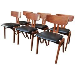 Set of Six Scandinavian Teak Chairs, 1960s