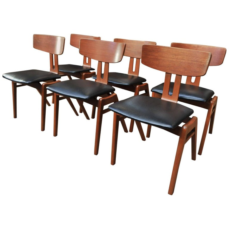 Set of Six Scandinavian Teak Chairs, 1960s For Sale